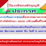 ประกาศโรงเรียนธัญบุรีเรื่องการปิดสถานศึกษา